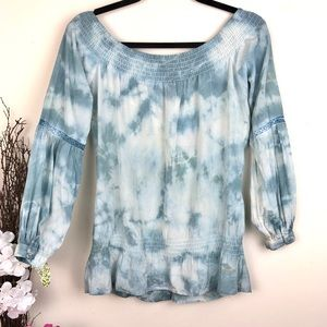 Guess by Marciano Tops - Guess Tie Dye Silk Boho Peasant Top blue white